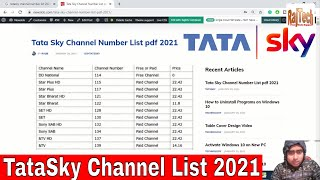 Tata Sky Channel 2021   Tatasky Channel Number 2021   Newslob