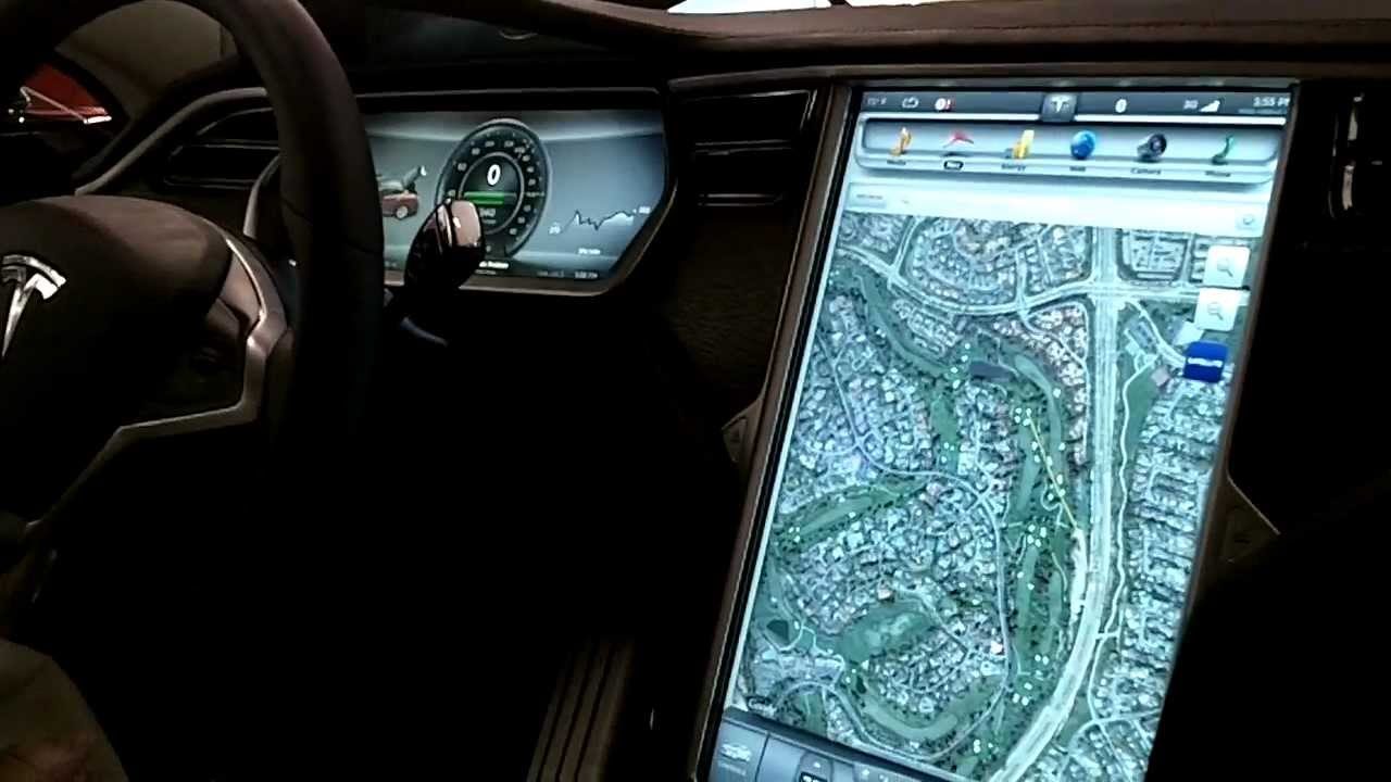 Tesla S Instrument Panel Closeup 17 Quot Display Gps Sat