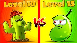 Plants vs Zombies 2 Free vs Premium Max Level Cactus 10 vs Laser Bean 15 By Primal Gameplay