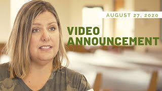 Video Announcements   August 27, 2020