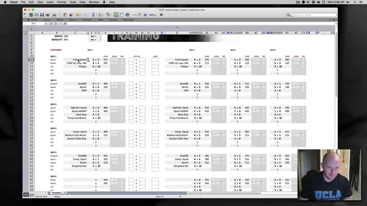 Daily Undulating Periodization (DUP) Training Program Spreadsheets