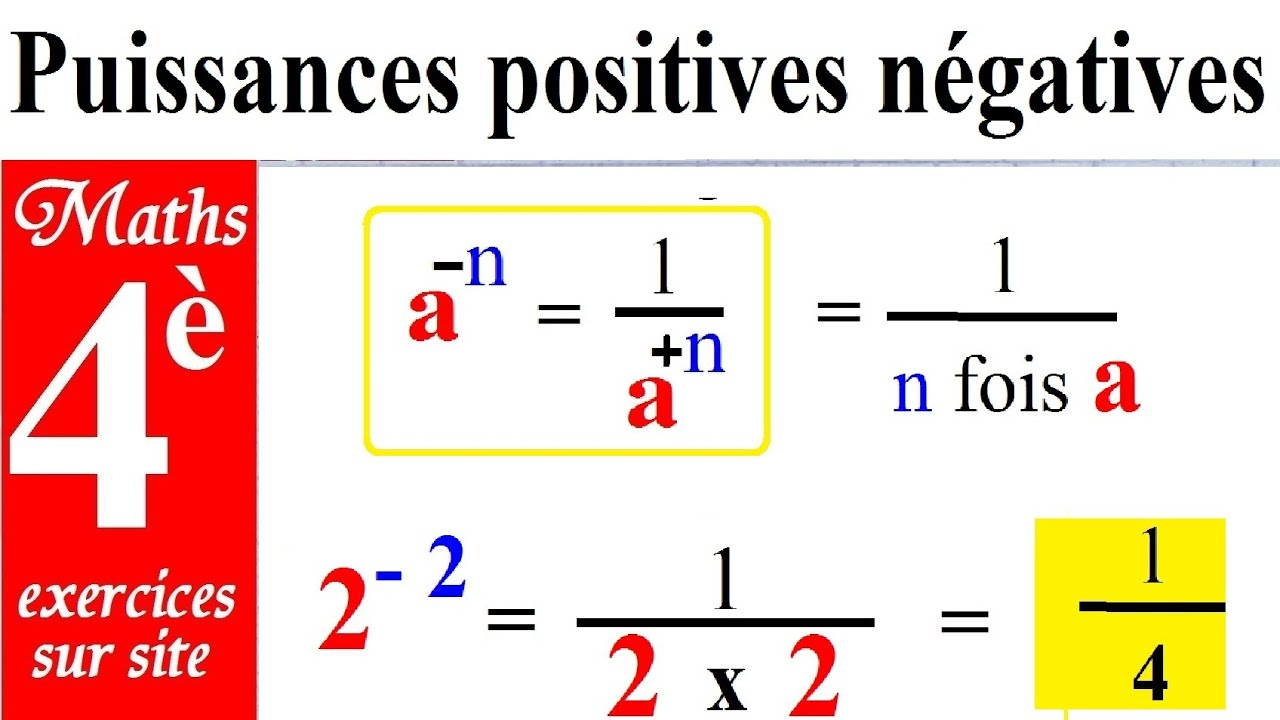 Maths 4ème | Puissances nombres relatifs positifs et négatifs - YouTube