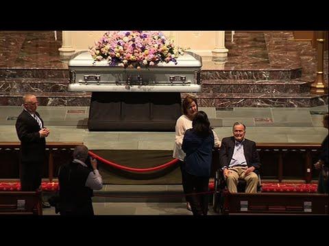 George H.W. Bush Greets Mourners of Barbara Bush