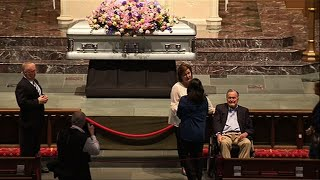 George H.W. Bush Greets Mourners of Barbara Bush