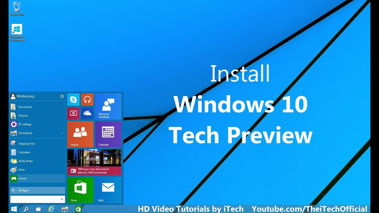 How to install windows 10 tech preview easyhd youtube ccuart Gallery