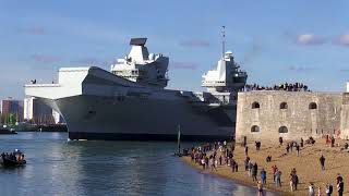 HMS Queen Elizabeth departs Portsmouth for the first time