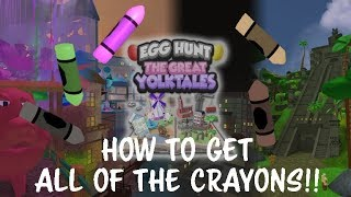 ROBLOX EGG HUNT 2018 - ALL CRAYON LOCATIONS WALKTHROUGH!!