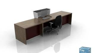 Linton Reception Counter In Walnut Veneer And Red Facias - Fray Design Furniture