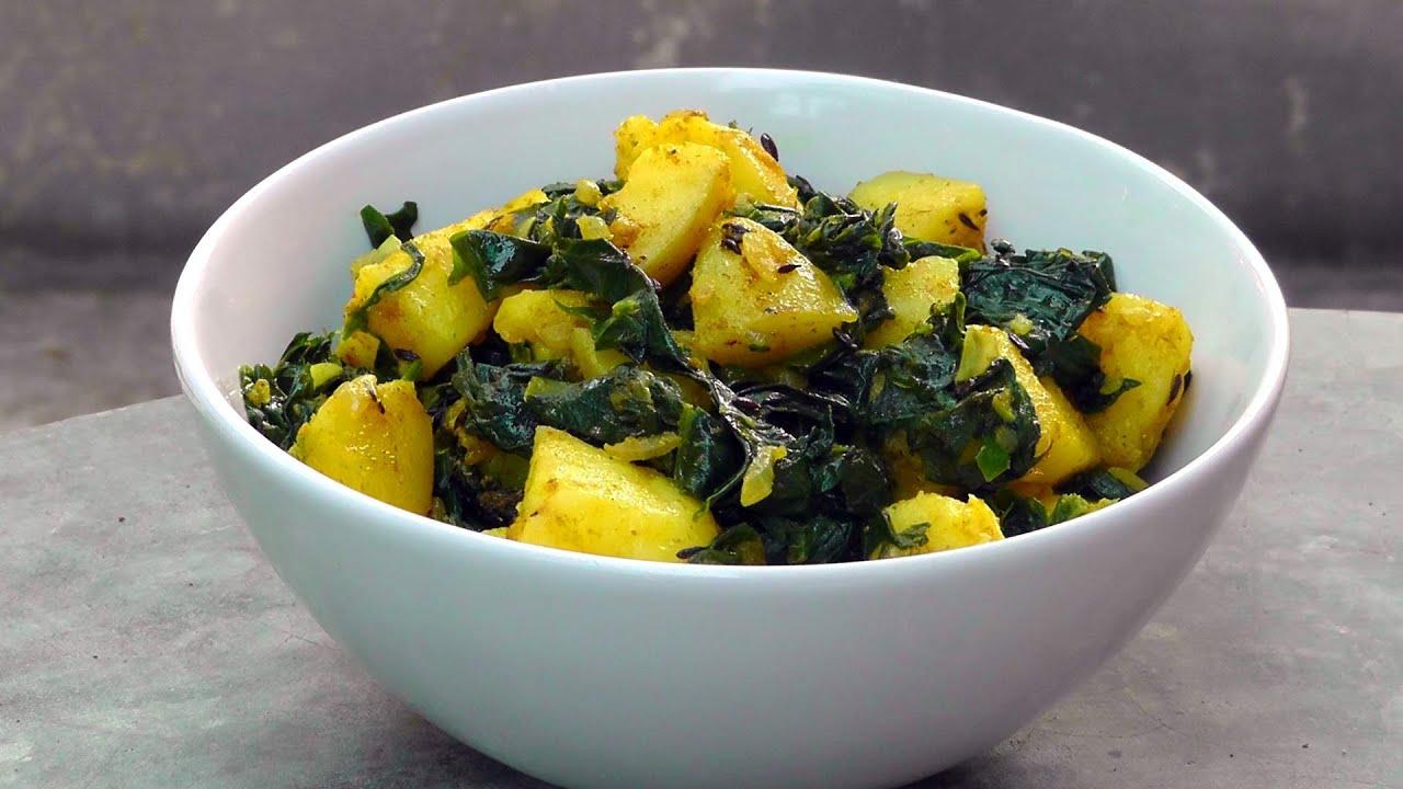 indische kartoffeln mit spinat vegan vegetarisches rezept youtube. Black Bedroom Furniture Sets. Home Design Ideas