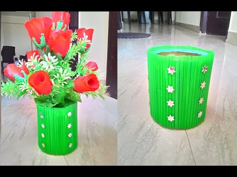Waste material flower pot youtube for Flower pot making with waste material