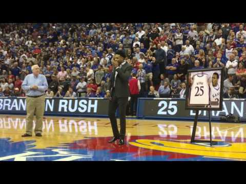Brandon Rush speaks during his jersey retirement ceremony