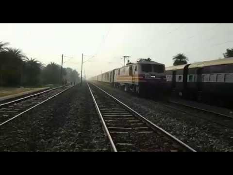 High speed overtake   Kanpur Shatabdi with Gatimaan Exp Locomotive overtaking Express Train