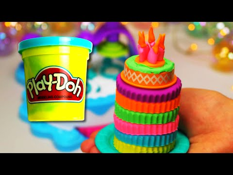 Play Doh Bright Colorful Cake with Candles