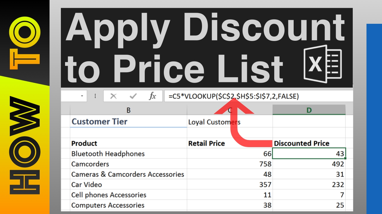 How To Apply Discount To Price List For Different Customers In Excel Youtube