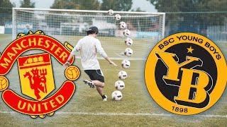 YB vs. Manchester United - Fuessbau Challenge uf Schwizerdütsch mit Marc Galaxy