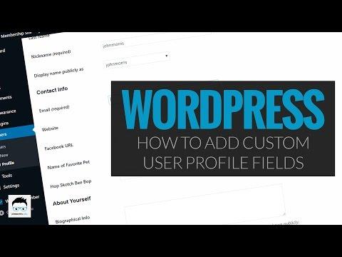 Custom user profile fields wordpress