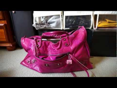 Review and Contents of Balenciaga Work Bag Magenta 2005 Classic RH