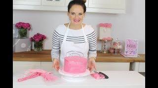 Biskuittorte für Baby Party / Rosa Geburtstagstorte aus Biskuit mit dt. Buttercreme
