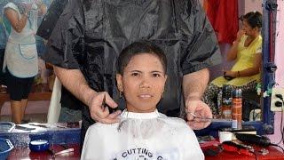 Woman extreme short haircut