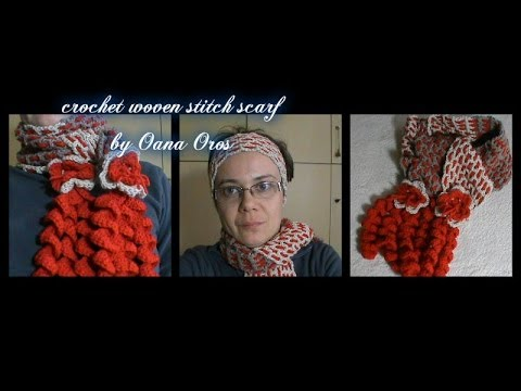 crochet scarf with the woven stitch