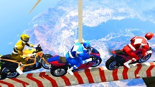 GTA 5 THE IMPOSSIBLE BIKE CHALLENGE w/ Power Rangers, Hulk Avenger & etc