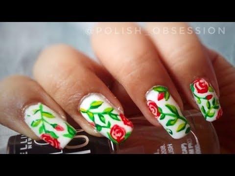 Freehand Roses Acrylic Rose Nail Art Youtube