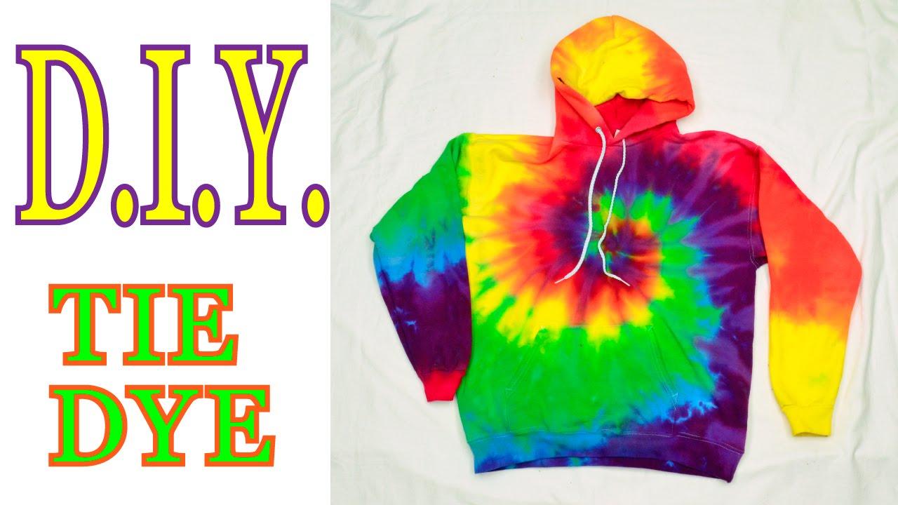 88b59260de9b DIY Tie Dye Rainbow Spiral Hooded Sweatshirt  Tutorial   19 - YouTube