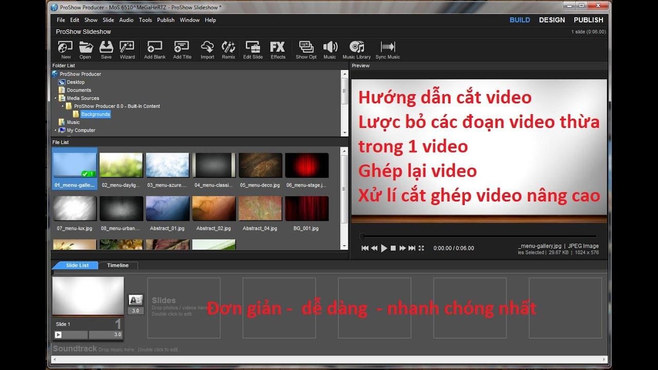 Bài 14 – Hướng dẫn cắt bỏ – thêm đoạn video – đơn giản nhất bằng Proshow Producer