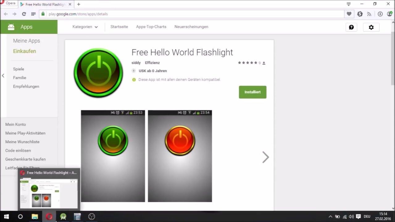 Android Studio simple Hello World Flashlight Tutorial (Part 1 - Design XML)  Deutsch/German