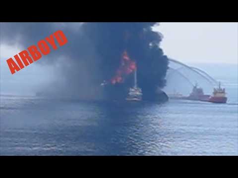 Coast Guard Battles Deepwater Horizon Oil Rig Fire