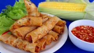 Cách làm CHẢ GIÒ TÔM BẮP Giòn Tan Ngon Tuyệt - Món Ăn Ngon