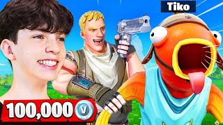 Tiko vs My Little Brother for 100,000 VBucks! - Fortnite 1v1