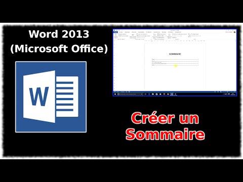 Tuto Word 2013 - Créer un sommaire