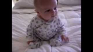 funny baby keep falling down