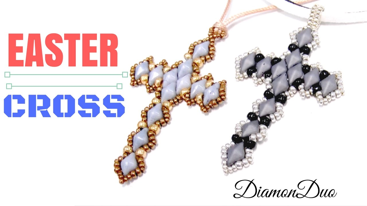 How To Make A Easter Cross With Diamonduo Beads Beading Ideas
