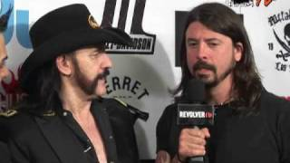 Dave Grohl and Lemmy goofing off backstage at Revolver Golden Gods-  EXCLUSIVE