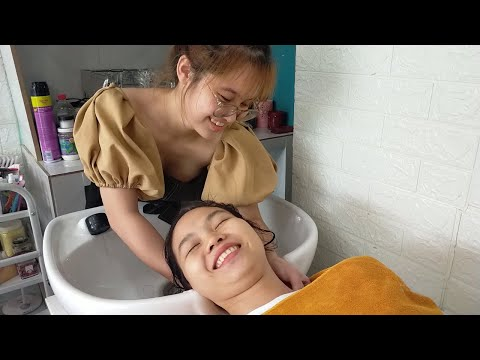 Relax Weekend - Extremely Cute and Happy Girl in Vietnam Babershop
