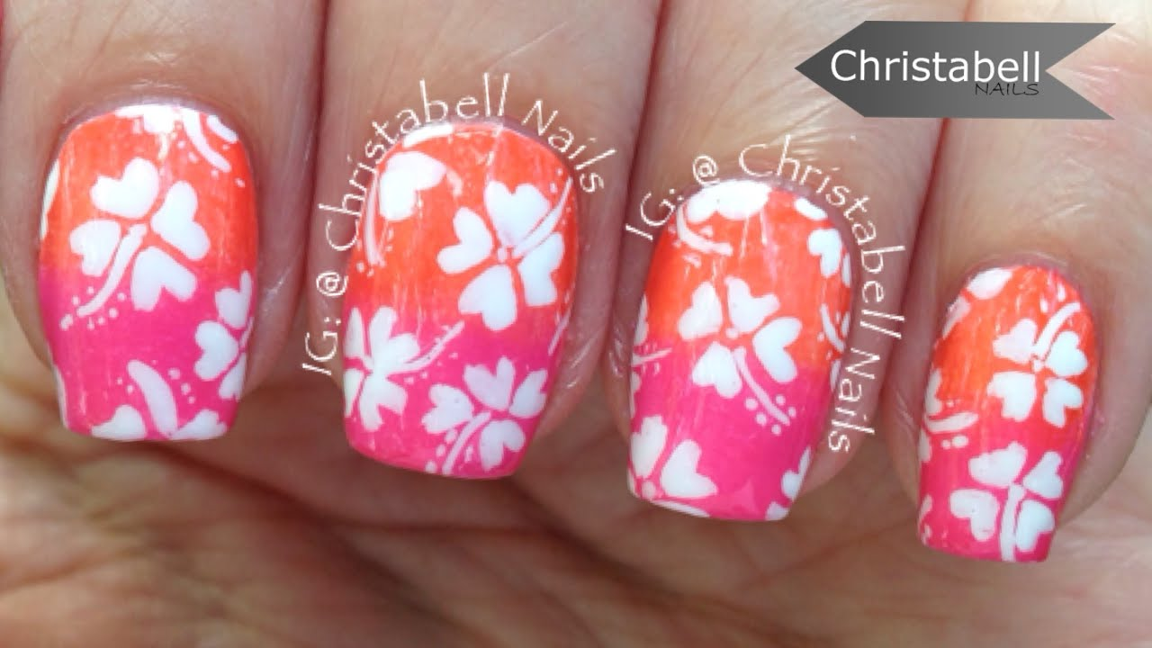 Christabell Nails Hawaiian Flowers Nail Art Tutorial - YouTube