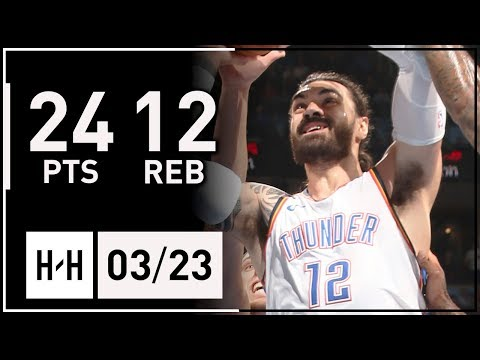 Steven Adams Full Highlights Thunder vs Heat 20180323  24 Points, 12 Reb, CLUTCH!