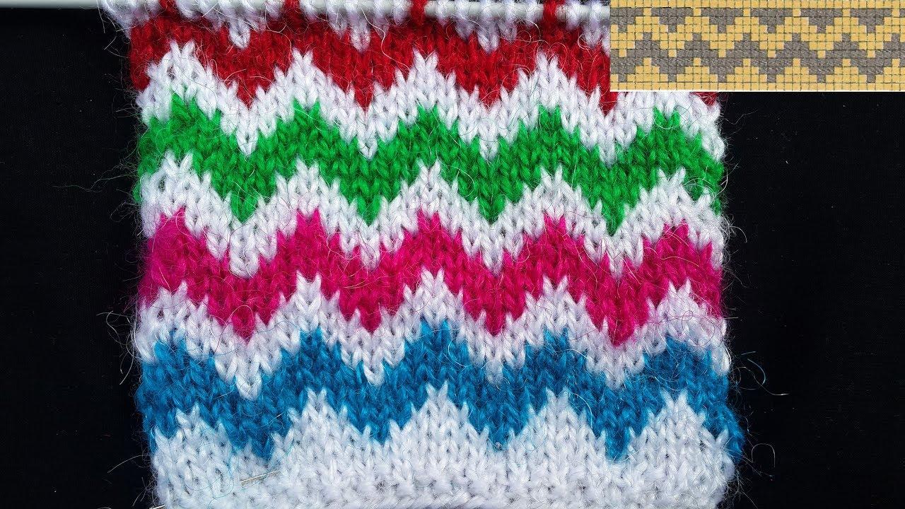 113 Multi Colour Zig Zag Knitting Pattern Hindi Youtube