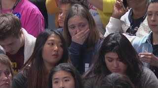 Hillary Clinton supporters looking sad on Election Night at Javits Center in New York City