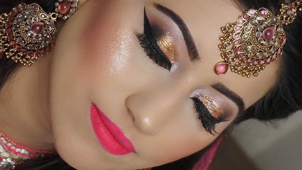 Indian Pakistani Asian complete bridal makeup tutorial step by step - YouTube