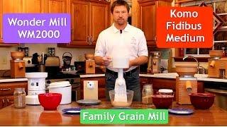 Тест обзор сравнение электрических мельниц Komo Fidibus Medium, Wonder Mill WM2000 Family Grain Mill