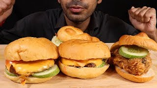 Chicken BURGER AND Chicken Fry burger eating with sauce and cold drinks