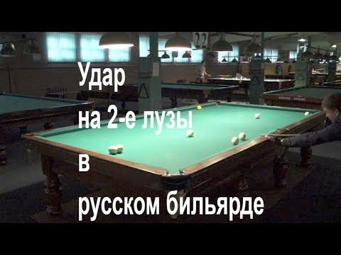 Удар на 2-е лузы в русском бильярде