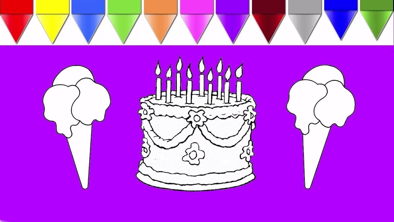 Renkleri öğreniyorum çocuklar Için Doğum Günü Pastası Ve