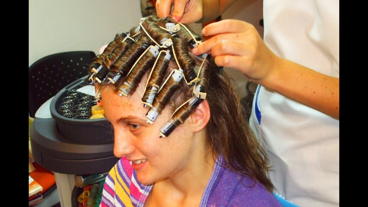 Teenager Getting A Rollers Perm And A Short Haircut Youtube