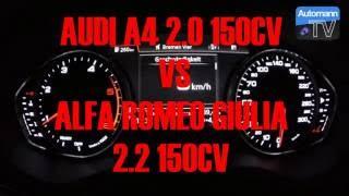 audi a4 2016 vs alfa romeo giulia 0 100 km h challenge