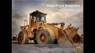 Heavy Construction Equipment PowerPoint Template Backgrounds - DigitalOfficePro #02636