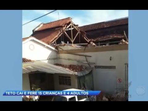 Telhado de escola cai e deixa 19 pessoas feridas